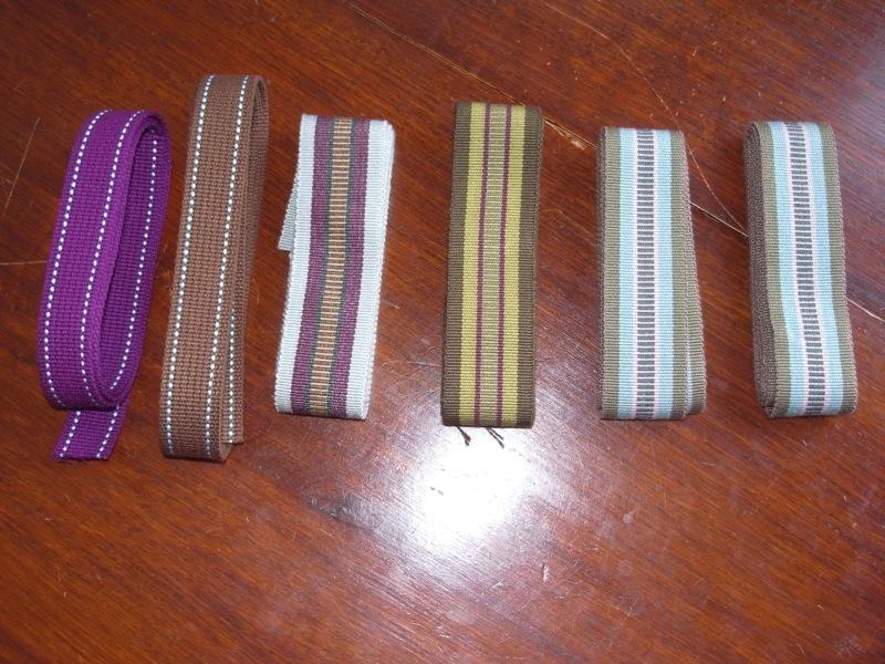 grosgrain webbing I use for straps.