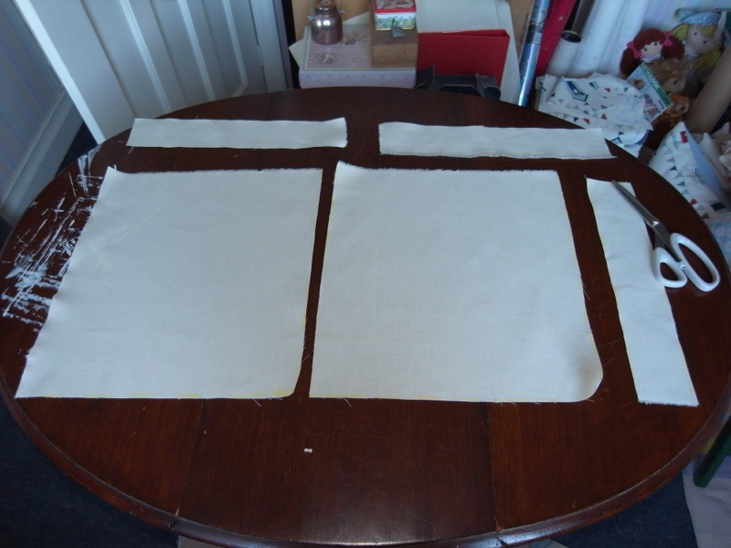 1st I measure out and cut the calico I use to line the outer fabric.