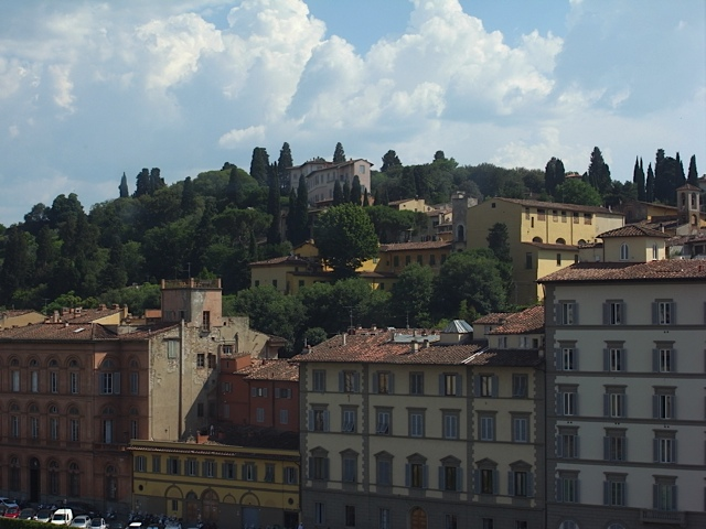 View of the hills in Florence, from the Uffizi gallery.