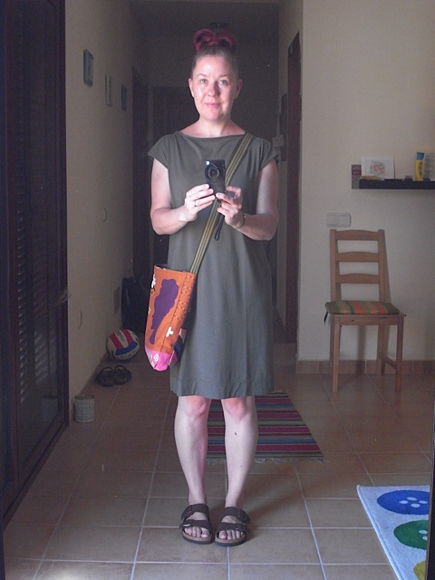 Wearing jersey dress and carrying one of my bags. I love it when my outfit is all handmade!