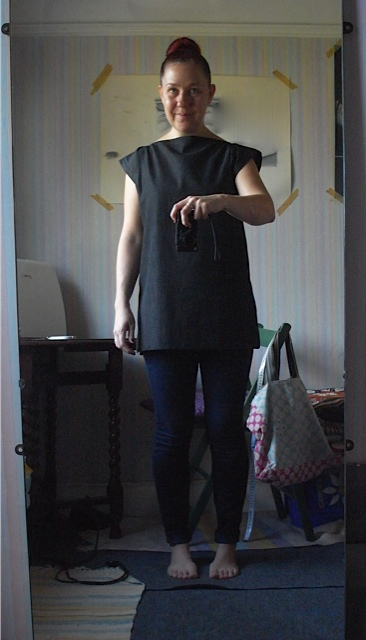 November, made another black dress weight denim top. I do like multiples. Again I'd tried to make a dress with it! Just can't get it to look right!