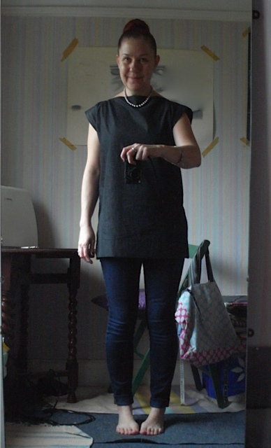 Sept/Oct, Black dress weight denim top. Started as a dress, didn't work!