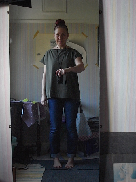 November, altered one of my jersey tunic tops. Think I like at this length. Tough if I don't really.....