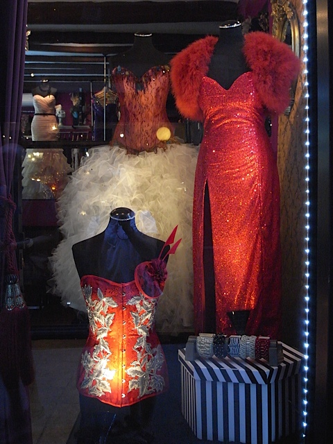 Another gorgeous shop window. Jessica Rabbit springs to mind with that red sequinned dress.