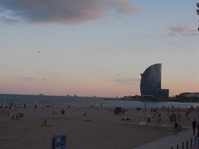 Barceloneta beach at dusk.
