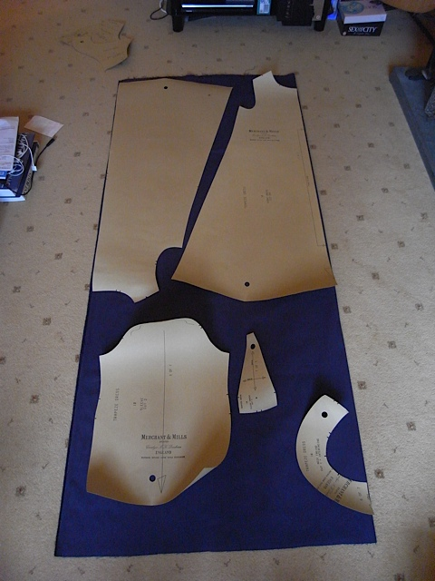 The pattern pieces laid out. I had to put the back on upside down to fit. Yes it does mean the nap on the back runs different to the front but its not too noticeable.